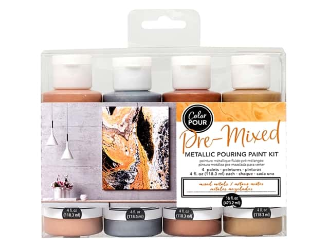 American Crafts Color Pour Pre Mixed Pouring Paint Kit - Mixed Metals