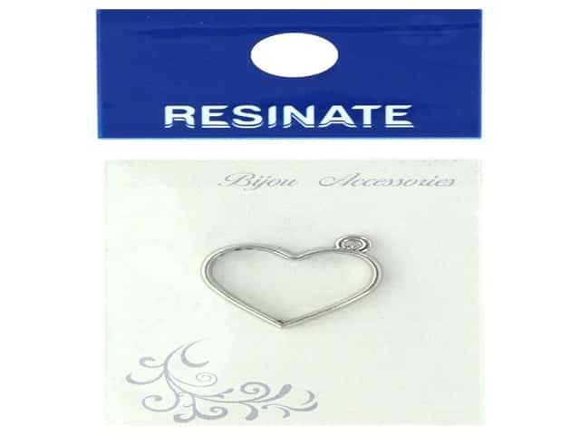 Resinate Charm Frame Heart Large Silver