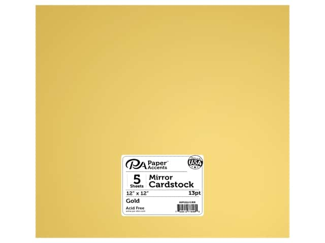 Paper Accents Cardstock 12 x 12 in. Mirror Gold 5 pc.