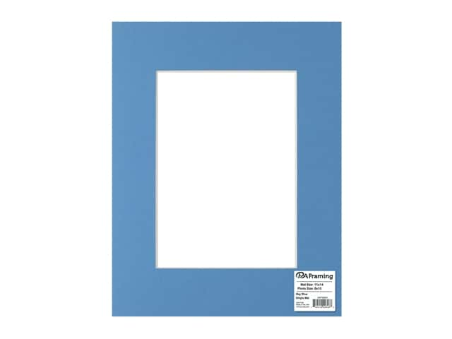 PA Framing Pre-cut Photo Mat Board White Core 11 x 14 in. for 8 x 10 in. Photo Bay Blue