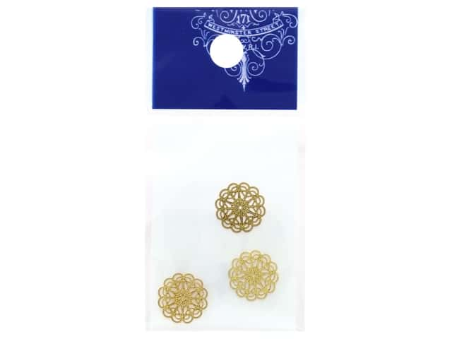 Resinate Charm Openwork Round Small Gold 3 pc