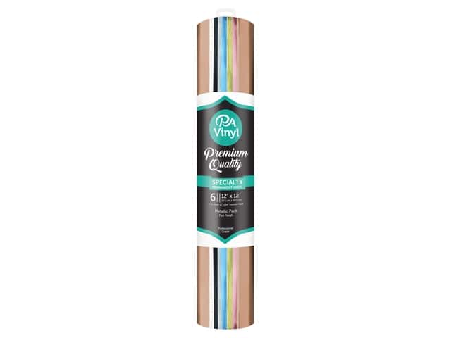 PA Adhesive Vinyl 12 x 12 in. Combo Pack Permanent Foil Metallic With Transfer Tape