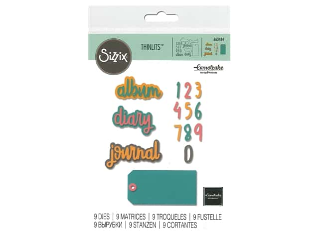 Sizzix Dies Carrotcake Thinlits Journal Phrases