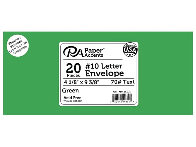 4 x 9 1/4 in. Letter Envelopes by Paper Accents 25 pc. #102 Green