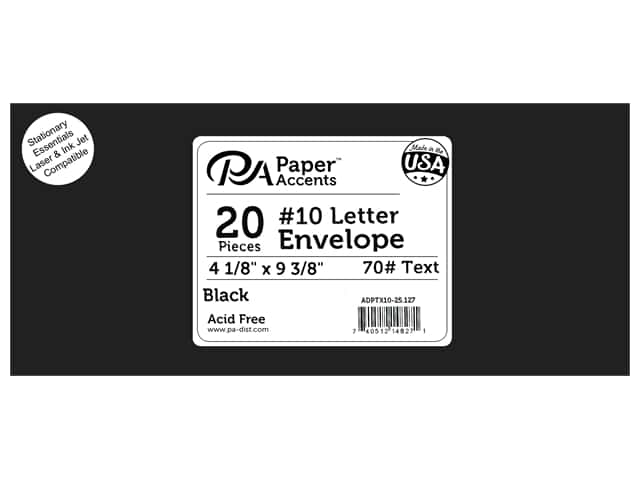 4 x 9 1/4 in. Letter Envelopes by Paper Accents 25 pc. #127 Black