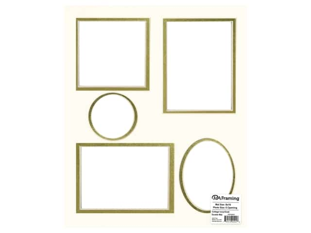 PA Framing Pre-cut Double Photo Mat Board Cream Core 8 x 10 in. 5 Openings Ivory/Gold