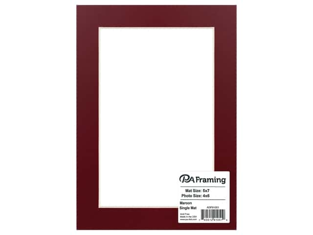 PA Framing Mat White Core 5 in. x 7 in. /4 in. x 6 in. White Core Maroon