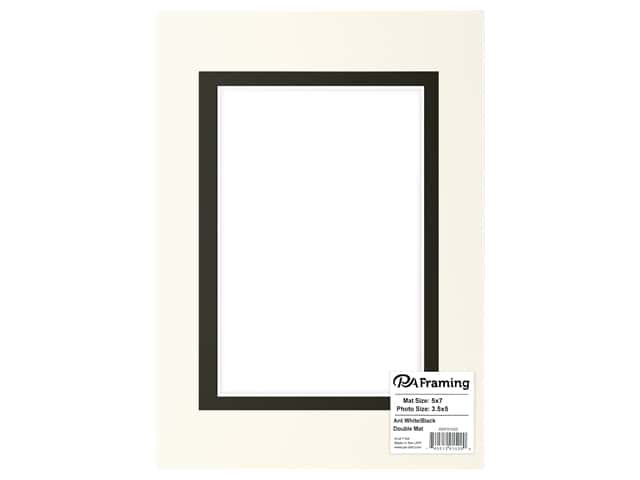 PA Framing Mat Double 5 in. x 7 in. /3.5 in. x 5 in. White Core Antique White/Black