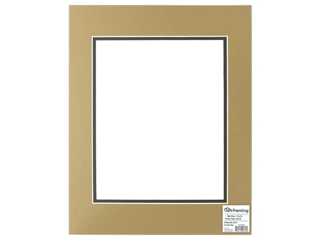 PA Framing Mat Double 11 in. x 14 in. /8 in. x 10 in. White Core Rattan/Dark Olive