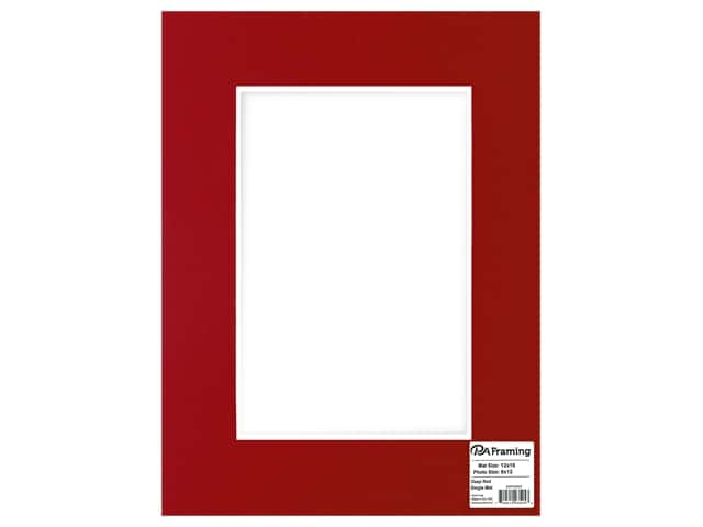 PA Framing Mat White Core 12 in. x 16 in./8 in. x 12 in. Deep Red
