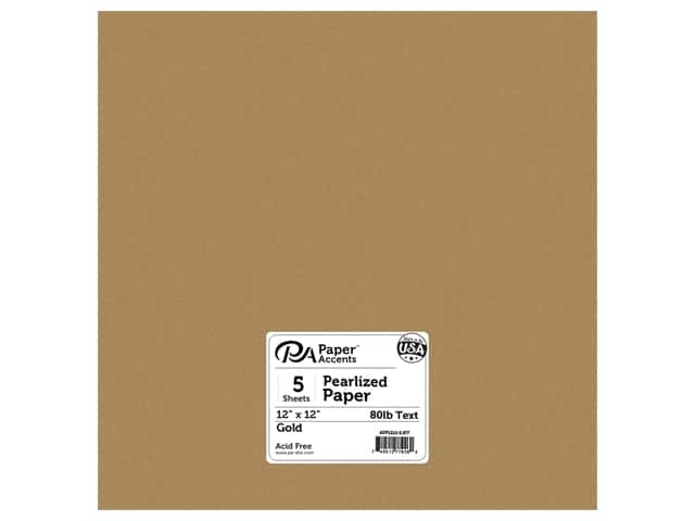 Paper Accents Pearlized Paper 12 x 12 in. #877 Gold 5 pc.