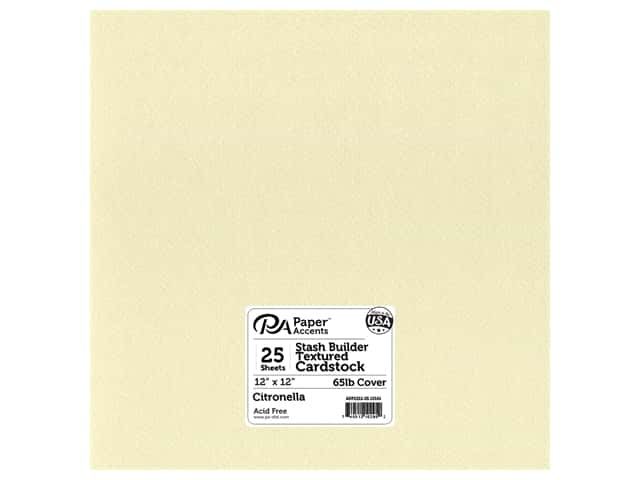 Paper Accents Cardstock 12 x 12 in. #10161 Stash Builder Textured Citronella 25 pc.