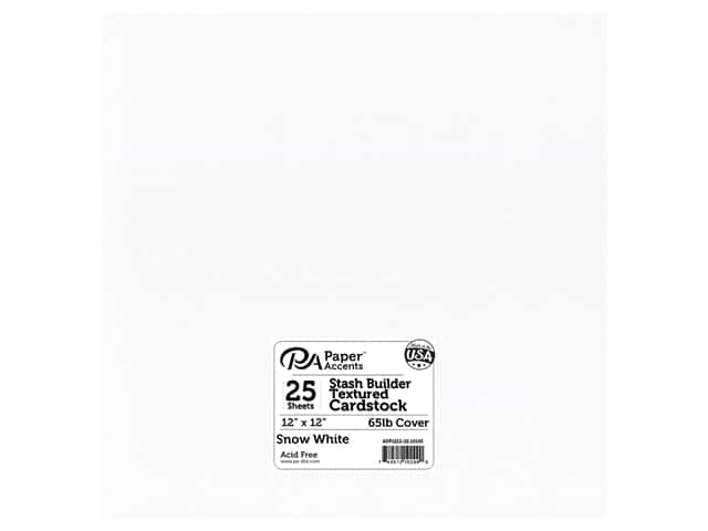 Paper Accents Cardstock 12 x 12 in. #10165 Stash Builder Textured Snow White 25 pc.
