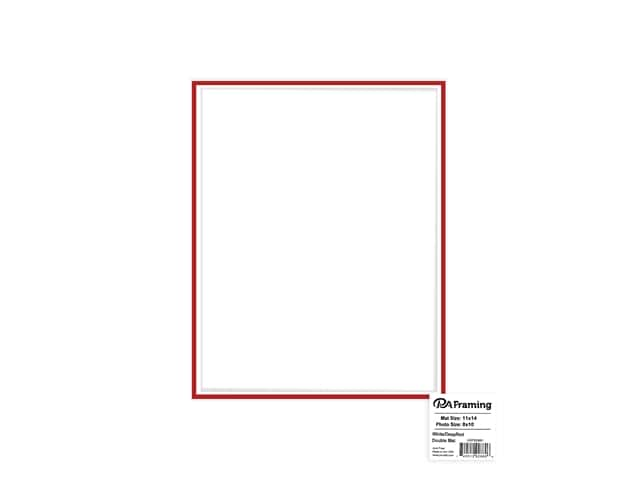 PA Framing Mat Double 11 in. x 14 in. /8 in. x 10 in. White Core White/Deep Red