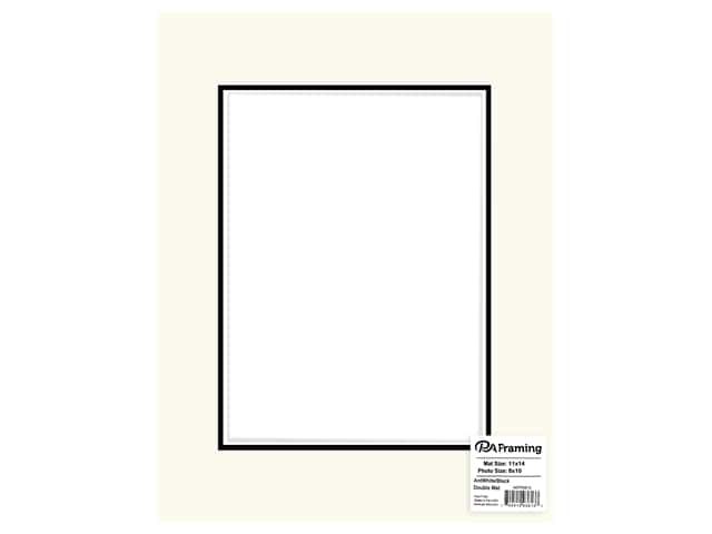 PA Framing Mat Double 12 in. x 16 in. /8 in. x 12 in. White Core Antique White/Black