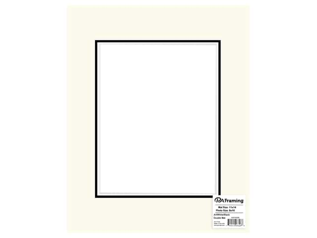 PA Framing Mat Double 11 in. x 14 in. /8 in. x 10 in. White Core Antique White/Black