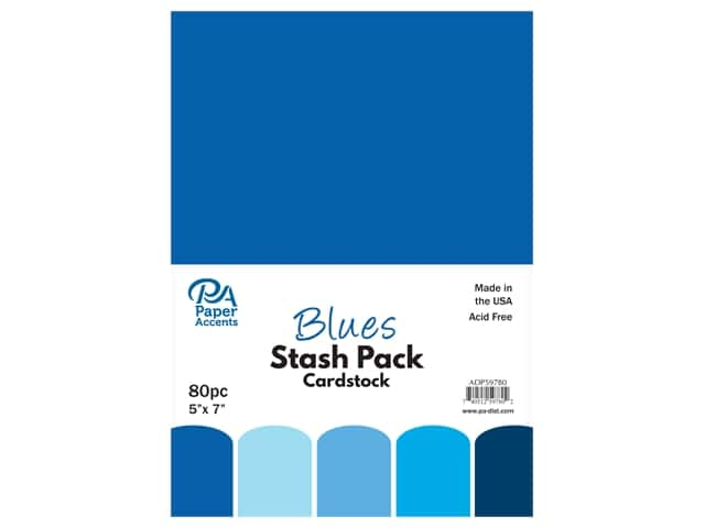 Paper Accents Cardstock Stash Pack 5 x 7 in. Blues 80 pc.