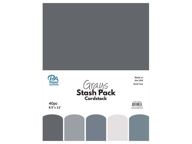 Paper Accents Cardstock Stash Pack 8 1/2 x 11 in. Grays 40 pc.