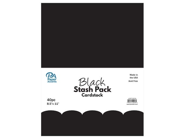 Paper Accents Cardstock Stash Pack 8 1/2 x 11 in. Black 40 pc.