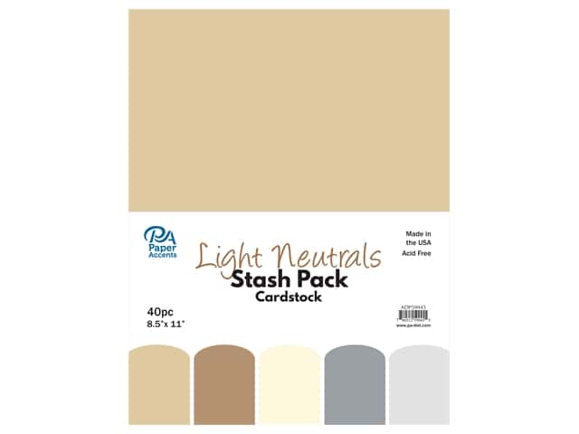 Paper Accents Cardstock Stash Pack 8 1/2 x 11 in. Light Neutrals 40 pc.