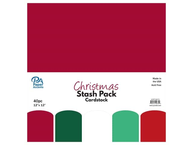 Paper Accents Cardstock Stash Pack 12 x 12 in. Christmas 40 pc.