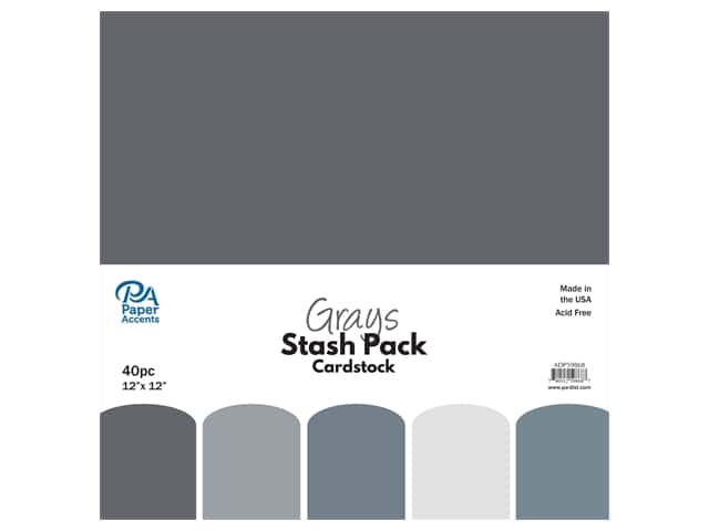 Paper Accents Cardstock Stash Pack 12 x 12 in. Grays 40 pc.