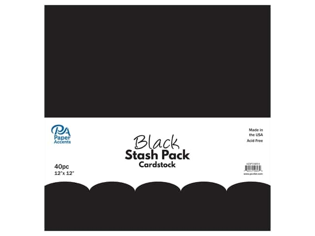 Paper Accents Cardstock Stash Pack 12 x 12 in. Black 40 pc.