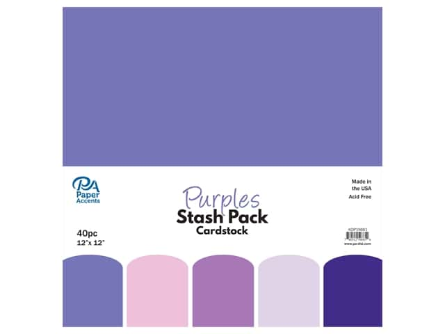Paper Accents Cardstock Stash Pack 12 x 12 in. Purples 40 pc.