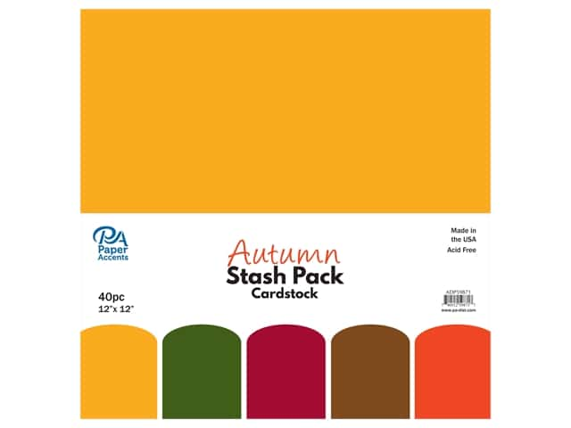 Paper Accents Cardstock Stash Pack 12 x 12 in. Autumn 40 pc.