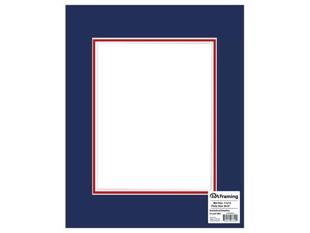 PA Framing Mat Double 11 in. x 14 in.  /8 in. x 10 in. White Core Bottle Blue/Deep Red
