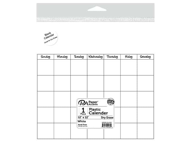 Paper Accents Plastic Calendar Page 12 x 12 in.  White 1 pc.