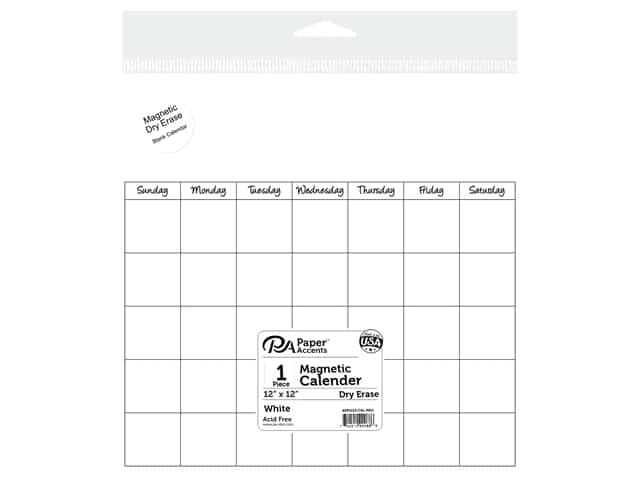 Paper Accents Magnetic Calendar Page 12 x 12 in. Dry Erase White