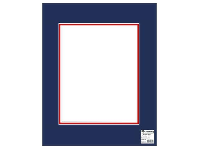 PA Framing Mat Double 16 in. x 20 in. /11 in. x 14 in. White Core Bottle Blue/Deep Red