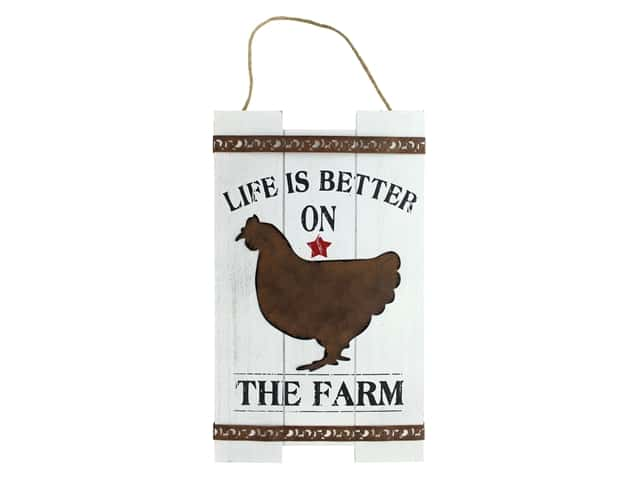 Darice Life Is Better on the Farm Rooster Wall Art 9 x 15 in.