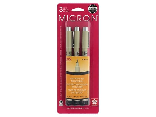 Sakura Pigma Micron Pen 05 Black 3 pc