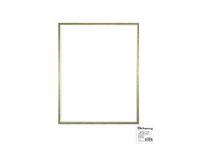 PA Framing Mat Double 11 in. x 14 in. /8 in. x 10 in. White Core White/Gold