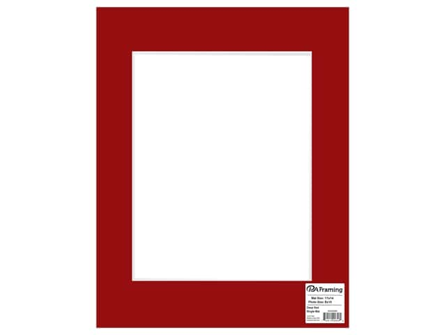 PA Framing Mat 11 in. x 14 in. /8 in. x 10 in. White Core Deep Red