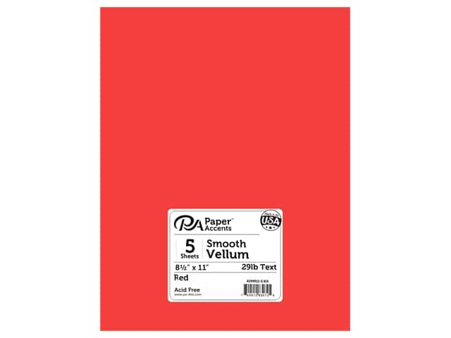 Paper Accents Vellum 8 1/2 x 11 in. #916 Red 5 pc.