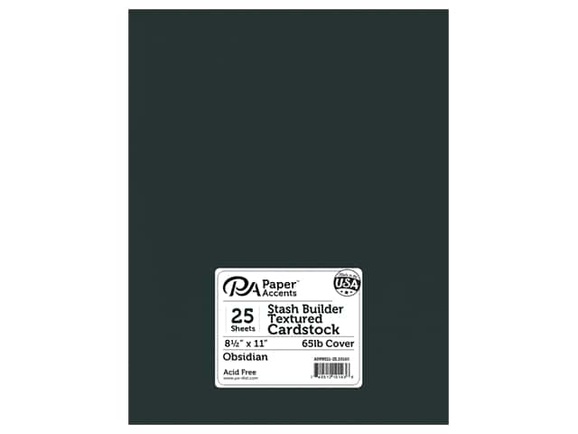 Paper Accents Cardstock 8 1/2 x 11 in. #10160 Stash Builder Textured Obsidian 25 pc.