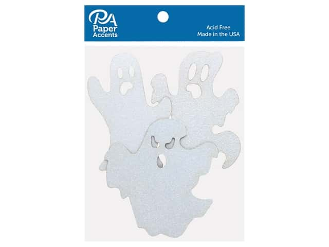 Paper Accents Glitter Ghosts White 6 pc