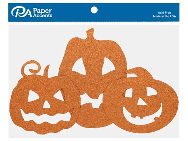 Paper Accents Glitter Jack O' Lanterns Orange 6 pc