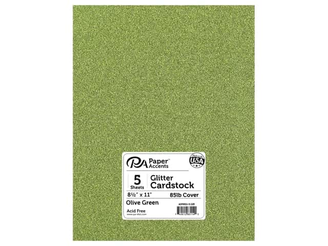 Paper Accents Glitter Cardstock 8 1/2 x 11 in. #G25 Olive Green 5 pc.