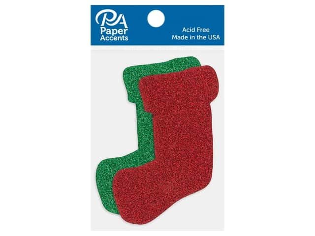 Paper Accents Cardstock Shape Glitter Stocking Red & Green 8 pc