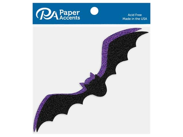 Paper Accents Cardstock Shape Glitter Flying Bat Black & Grape 8 pc