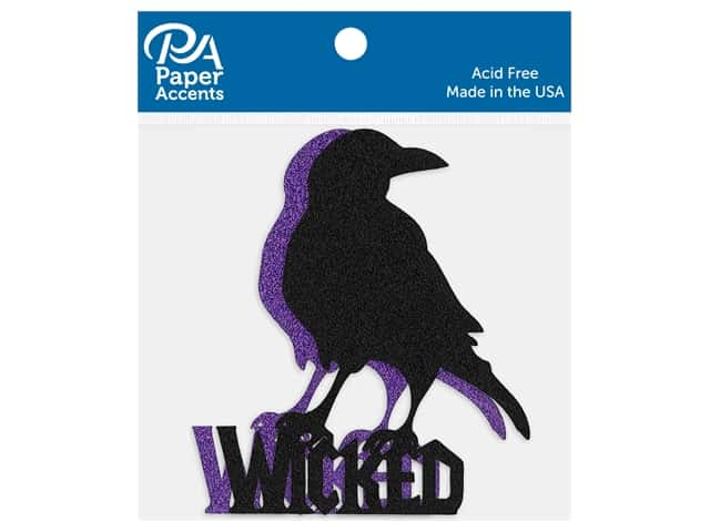 Paper Accents Cardstock Shape Glitter Wicked Crow Black & Grape 4 pc