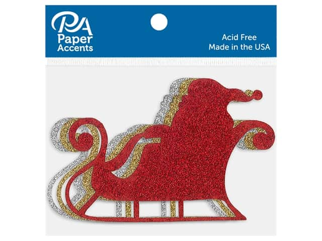 Paper Accents Glitter Shapes Sleigh with Santa Gold, Silver & Red 6 pc