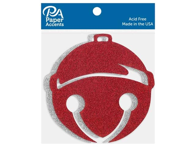 Paper Accents Glitter Shapes Holiday Bell Silver & Red 4 pc