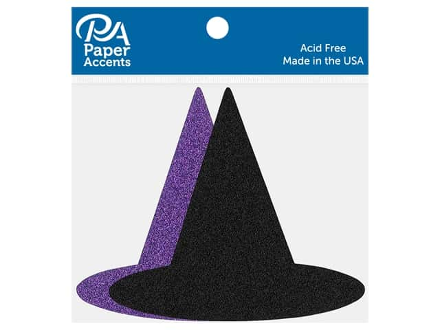 Paper Accents Cardstock Shape Glitter Witches Hat Black & Grape 8 pc