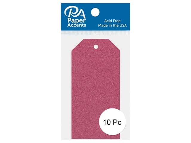 Paper Accents Craft Tags 1 5/8  x 3 1/4 in. 10 pc. Glitter Rose
