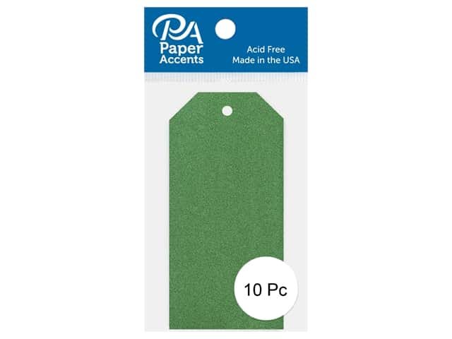 Paper Accents Craft Tags 1 5/8  x 3 1/4 in. 10 pc. Glitter Green